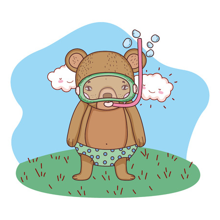 cute little bear with snorkel in the field vector illustration design Stock Illustratie