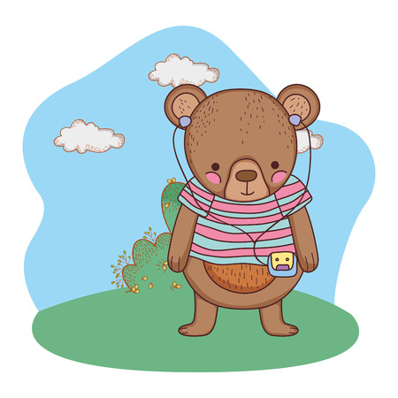 cute little bear with shirt in the camp vector illustration