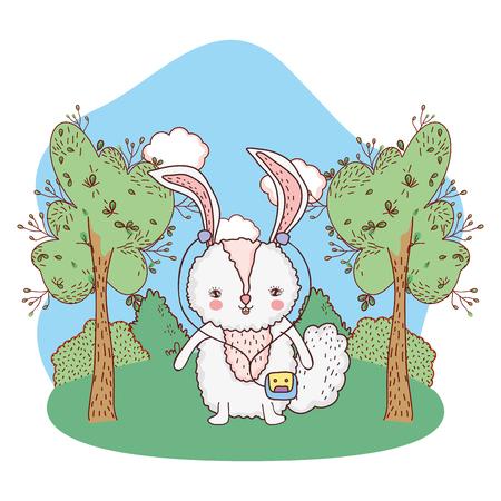 cute little rabbit in the park vector illustration design