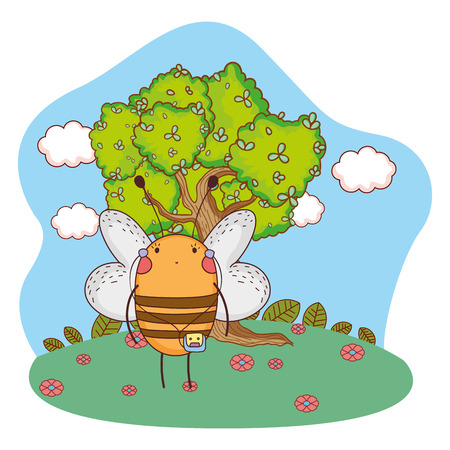 cute little bee  vector illustration design