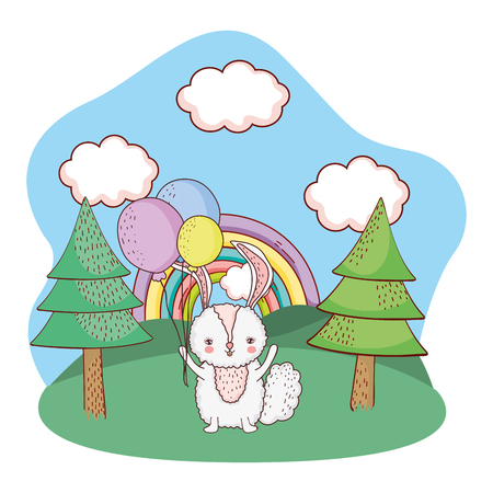 little rabbit with balloons helium in the park vector illustration design