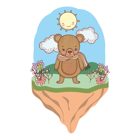 cute little bear with scarf in the camp vector illustration design Illustration