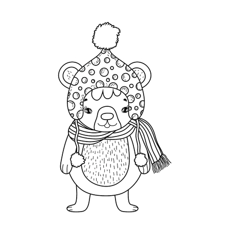 cute little bear with hat vector illustration design Ilustrace