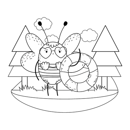 cute little bee with swimsuit and float vector illustration design