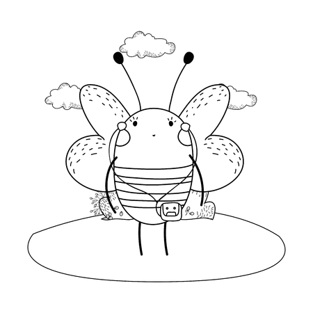 cute little bee vector illustration design 矢量图像