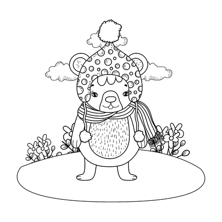 cute little bear with hat in the camp vector illustration design