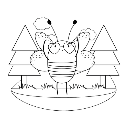 cute little bee with heart sunglasses in the camp vector illustration design