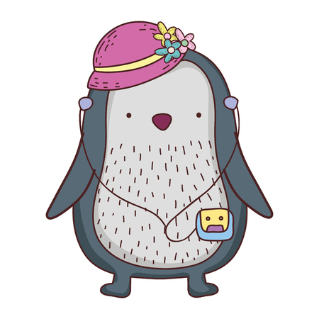 cute little penguin with female hat vector illustration design