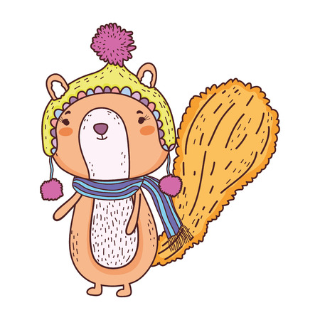cute little chipmunk with hat and scarf vector illustration design