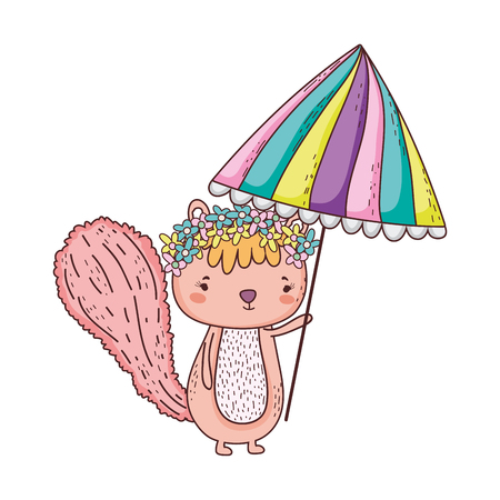 cute little chipmunk with umbrella vector illustration design