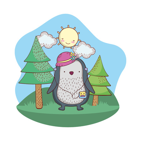 penguin with hat in the camp vector illustration design