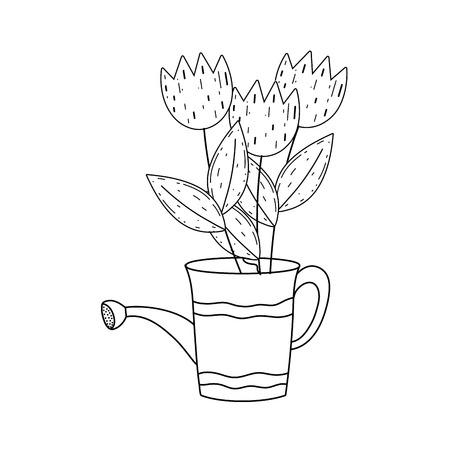 gardener shower sprinkler with flowers vector illustration design