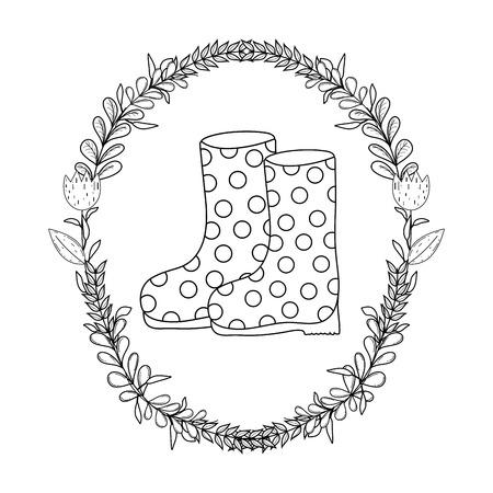 gardener boots rubber with wreath vector illustration design