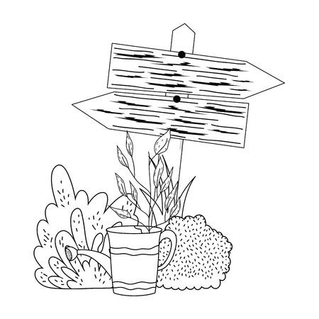 garden with wooden arrow signal vector illustration design