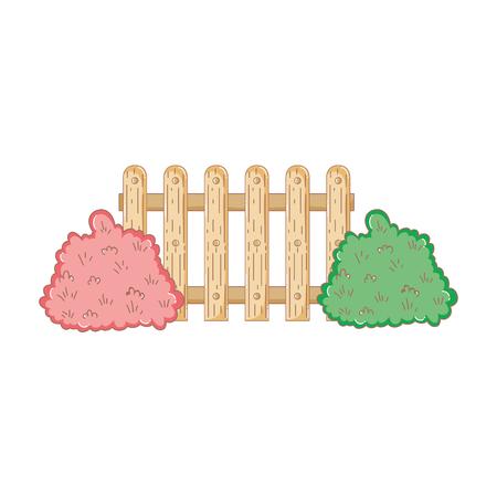 garden bush with fence vector illustration design Vettoriali