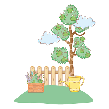 tree plant with garden and sprinkler vector illustration design