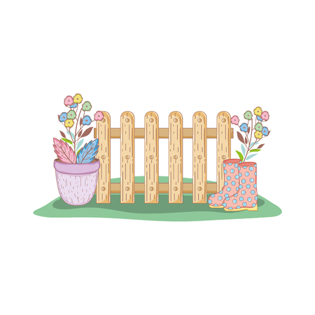 gardener boots rubber with fence vector illustration design Vectores