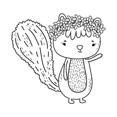cute little chipmunk character vector illustration design