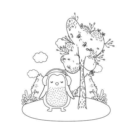 cute little penguin with earphones in the park vector illustration design Vektorové ilustrace