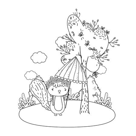 cute little chipmunk with umbrella in the field vector illustration design