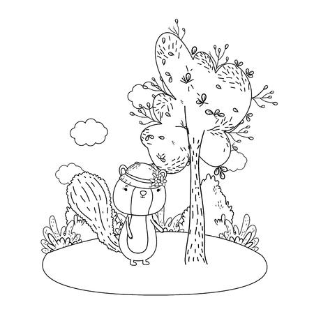 Cute little chipmunk con sombrero femenino en el campo, diseño de ilustraciones vectoriales