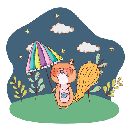 chipmunk with umbrella and sunglasses in the field vector illustration