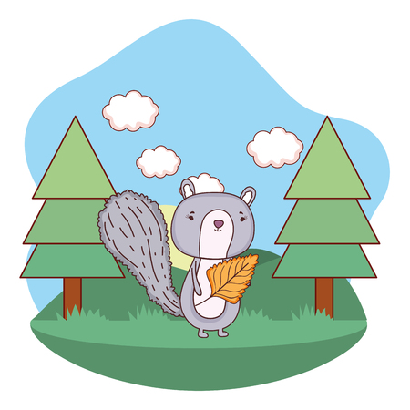 cute little chipmunk with leaf in the field vector illustration design Vectores