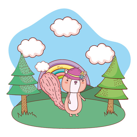 cute little chipmunk with female hat in the field vector illustration design