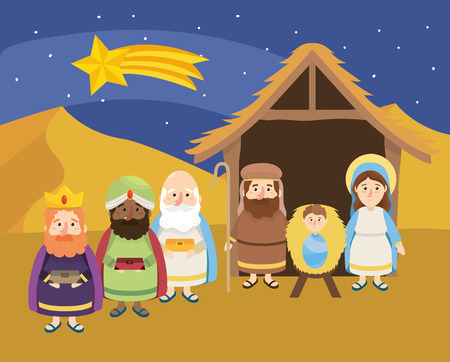 shooting star and magicians kings with jesus vector illustration