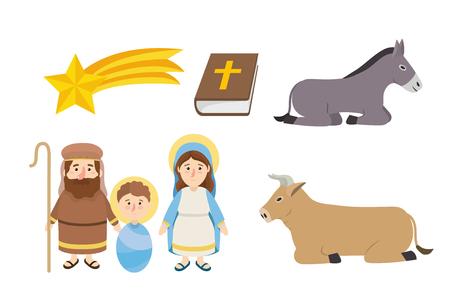 set happy epiphany catholic religion celebration vector illustration Vecteurs
