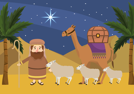 joseph with sheeps and camels with palm trees vector illustration