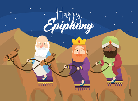 magicians kings ride camels to happy epiphany vector illustration