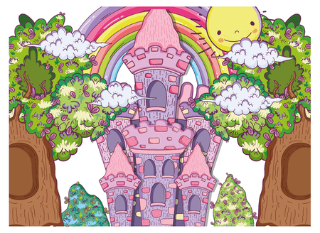 fantastic castle with trees houses and sun vector illustration Archivio Fotografico - 112419953
