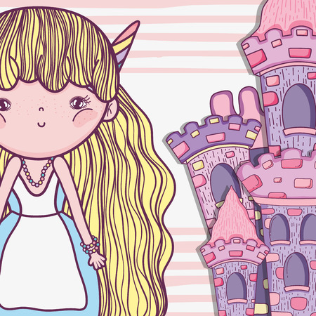 girl fantastic creature with horns and castle vector illustration