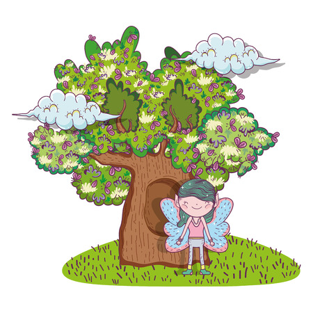 fairy fantastic creature with tree houses vector illustration