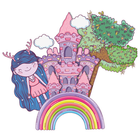 girl fantastic creature with castle and tree vector illustration