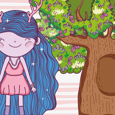 girl fantastic creature with antlers and tree houses vector illustration Archivio Fotografico - 127540982