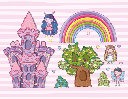 set fantastic creatures with rainbow and castle vector illustration Stockfoto - 112419959