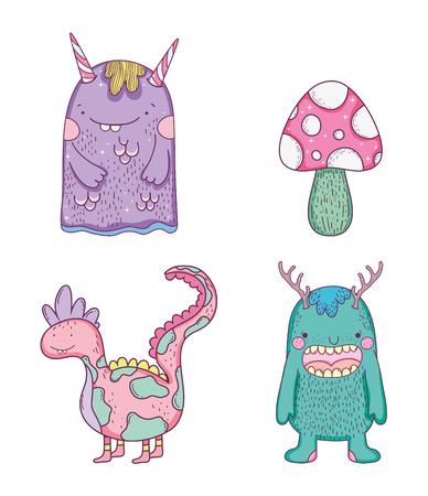 set monsters with dragon creatures and fungus vector illustration