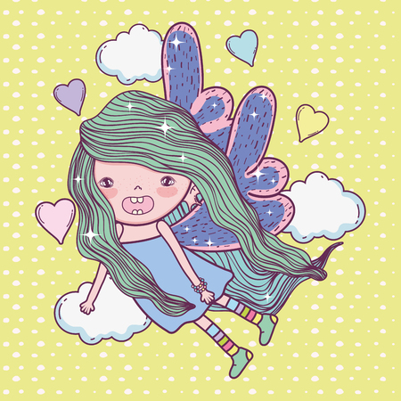 girl fairy creature with wings and hearts vector illustration