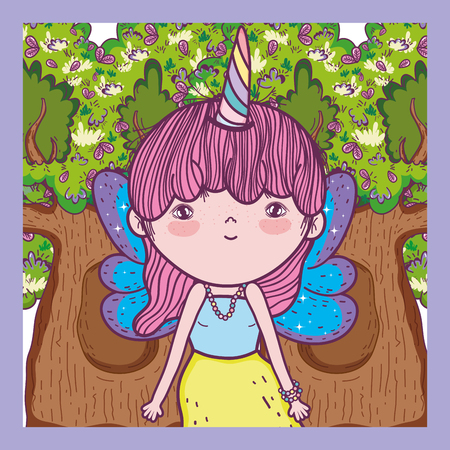 girl creature with horn and wings in the tree vector illustration