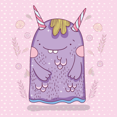fantastic cute monster creature with horns vector illustration 일러스트