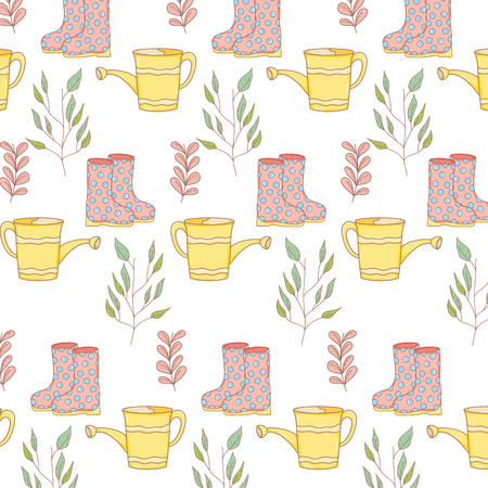 watering can with boots and plants leaves background vector illustration