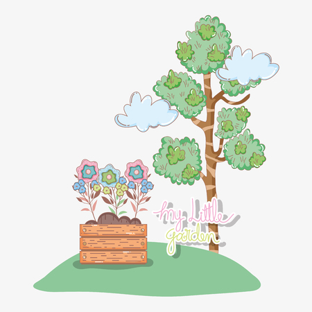 tree leaves with flowers inside plant pot and clouds vector illustration