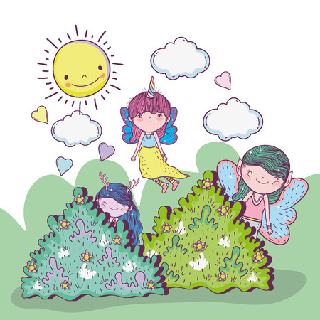 girls fantastic creatures in the bushes with clouds and sun vector illustration