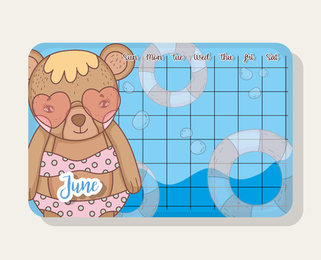 june calendar with bear cute animal vector illustration Vectores