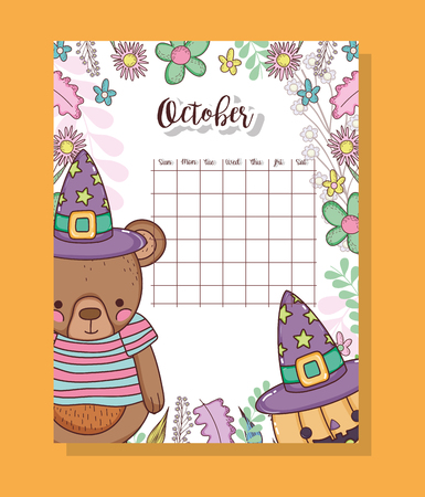 october calendar with cute bears animal vector illustration