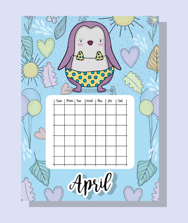 april calendar information with penguin and flowers vector illustration Иллюстрация