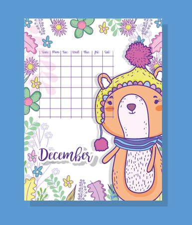 january calendar information with squirrel and plants vector illustration Ilustração