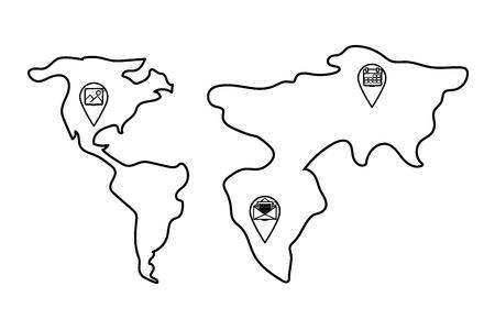 technology web gps locations over world map cartoon vector illustration graphic design